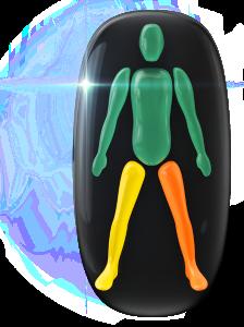 Transtorno do movimento e falta de coordenação motora de grau moderado em uma perna e de baixo grau na outra perna.