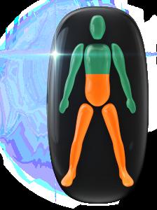 Movimiento y coordinación moderadamente limitados de la mitad del tronco y de las piernas.