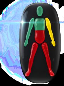 胴体中央と両下肢の動きに重度の障害、片腕にも軽度の障害。