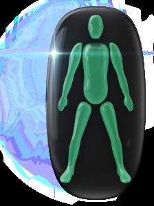 O ícone LEXI verde indica áreas de movimento e coordenação do corpo não afetadas.