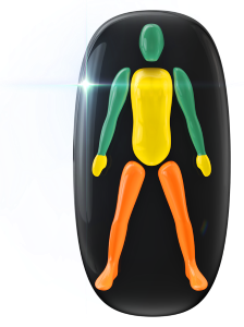 Transtorno do movimento e falta de coordenação motora de baixo grau no tronco e nas mãos e de grau moderado nas pernas.