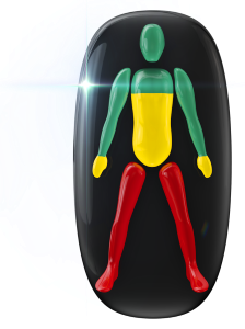 Transtorno do movimento e falta de coordenação motora de baixo grau no tronco, do peito para baixo, nas mãos e de alto grau nas pernas.